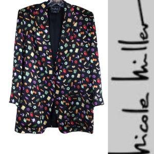 NICOLE MILLER 100% Silk 90s Vintage Style Blazer